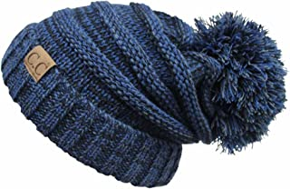Hatsandscarf CC Exclusives Unisex Oversized Slouchy Beanie with Pom (HAT-6242POM) (Navy)