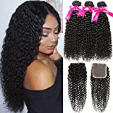 Hermosa 10A Kinky Curly Weave Human Hair Bundles with Closure 20 18 16+14 Good Quality Brazilian curly Hair 3 Bundles with Closure