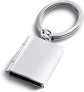 Creative Home Rectangle Locket Keychains for Women Christmas Key Chain for Mens 3 Color