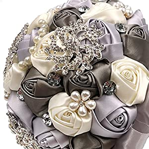 abbie home advanced customization romantic bride wedding holding toss bouquet rose with pearls and rhinestone decorative brooches accessories- (grey + creamy white) silk flower arrangements