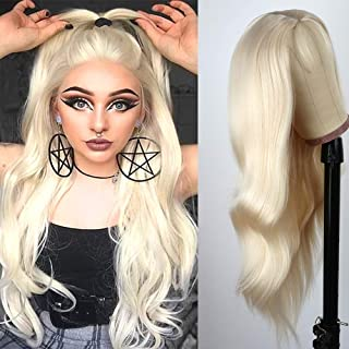 Jolitime Hair Platinum Blonde Long Body Wavy Wigs Synthetic Non Lace Wig Wave Natural Hairline Heat Resistant Fiber Hair R...