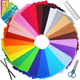 """Winlyn 96 Sheets Bright Foam Sheets 24 Assorted Rainbow Colors Craft Foam Sheets EVA 9x6"""" 2mm Thick with Scissor Stencils Ruler Pencils for Kids Classroom Party Collages Scrapbooks Artwork Projects"""