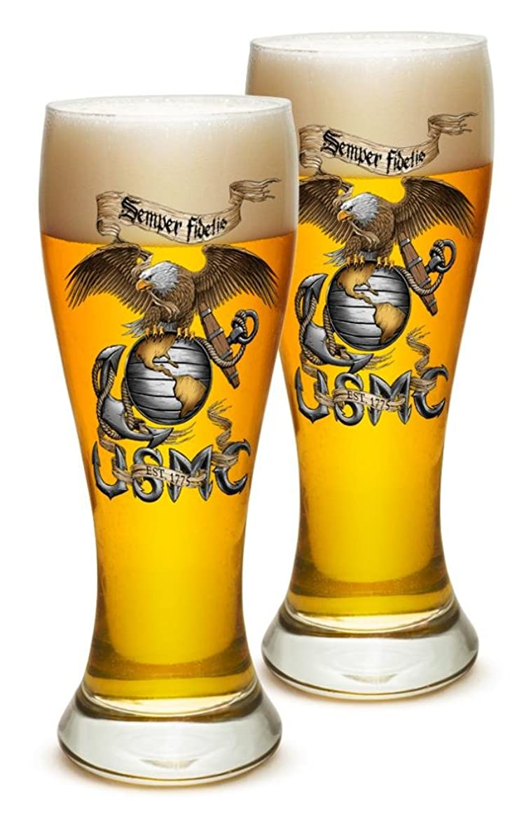 希望に満ちた問題心理学Pilsner?–?米国海兵隊メンズorレディースギフト愛国?–?Eagle USMC23オンス Set of 24 MM107-P23oz-024