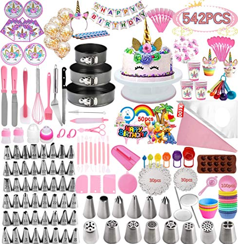 Cake Decorating Supplies And Birthday party decorations Supplies,542 PCS Baking Set with Springform Cake Pans Set,Cake Decorating Kits, Cake Baking Supplies For Creating Birthday party