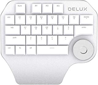 Delux T11 Designer Keyboard Keypad with Smart Dial 3 Group Customized Keys for Windows Mac OS & Design Software (White)