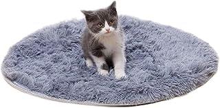 YXZQ Round Cat Dog Bed Mat Plush Sofa Cushion with Anti-Slip Bottom Machine Washable Cat Cushion Puppy Pad Fleece Self Hea...