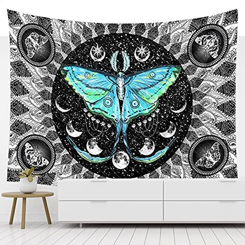 BOZILY Tapiz de pared con diseño de mandala, bohemio, psicodélico, mariposas, cielo estrellado, fases de la luna, para salón, colcha, dormitorio, negro, 150 x 200 cm