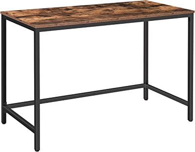 HOOBRO Computer Desk, 47.2 Inches Industrial Writing Desk, Simple Office Study Workstation for Home Office, Sturdy Metal Frame, Easy Assembly, Rustic Brown and Black BF52DN01
