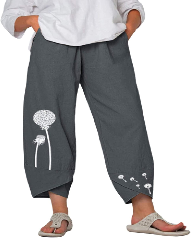 Luandge Women's Printed High Waisted Micro Pleated Loose Wide-Leg Pants Casual