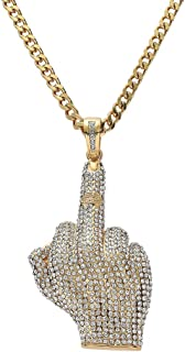 Hip-Hop Erect Middle Finger Pendant Stainless Steel Chain Rhinestone Crystal Necklace for Men Women