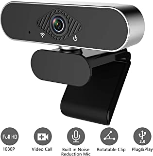 YVELINES 1080P Webcam with Microphone, HD PC Webcam Laptop Plug and Play USB Webcam Streaming Computer Web Camera with 110-Degree View Angle, Desktop Webcam for Video Calling Recording Conferencing