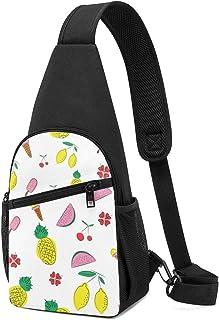 Mochila de verano con diseño de fondo con frutas y elementos florales, mochila ligera para el pecho y el pecho, bolsa cruz...