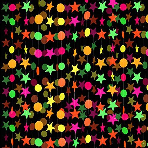 8 Piezas Guirnalda de Papel de Neón Guirnalda de Puntos Circulares Decoraciones Colgantes de Guirnaldas de Estrellas de Neón para Cumpleaños Boda Negro Luz Reactivo UV Resplandor Fiesta