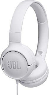 JBL T500 in White - On Ear Lightweight/Foldable Headphones with Pure Bass Sound - 1-Button Remote/Built-in Microphone