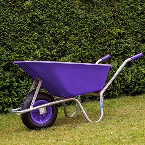 Schubkarre PP 100 Liter   250 kg Traglast   Bau Karre Gartenschubkarre violett Bauschubkarre Schiebkarre Garten rostfrei verstärkt stabil hohe Tragkraft