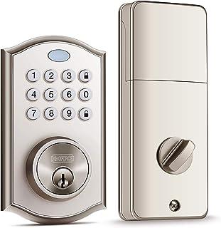 Keyless Entry Door Lock, Handy to Install & Programme Keypad Deadbolt, Electronic Door Locks with Auto-Alarm & Auto-Lock Function for Safety, 50 Customizable User Codes & Back-Lit Smart Door Lock