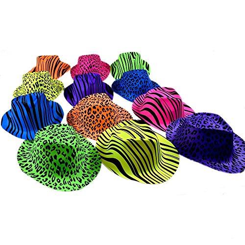 Neon Animal Print Gangster Hats (1 Dozen)