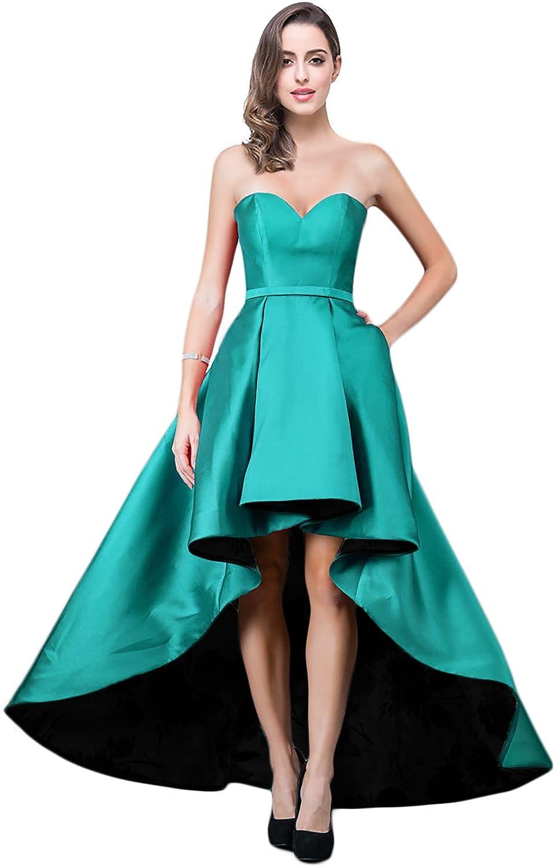 YSMei Women's High Low Satin Prom Dress Strapless Sweetheart Dress ON012
