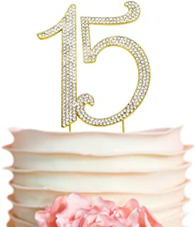 15 Quinceañera GOLD Birthday Cake Topper | Premium Bling Crystal Rhinestone Diamond Gems | 15th Birthday or Anniversary Party Decoration Ideas | Quality Metal Alloy | Perfect Keepsake (15 Gold)