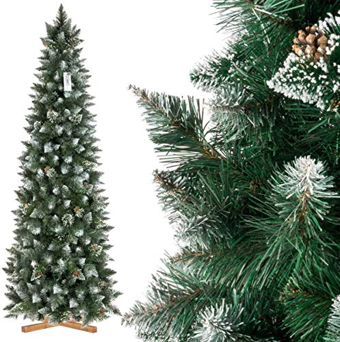 GOVITA Albero di Natale Artificiale Slim, Pino innevato Bianco Naturale, Materiale PVC, Vere pigne, incl. Supporto in Legno, 210cm