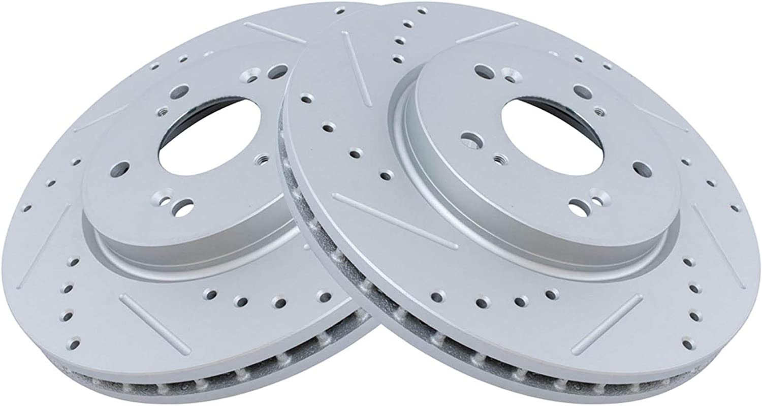 5 ☆ In a popularity popular TRQ Front Performance Brake Rotor Drilled 2 Pair Set Slotted for