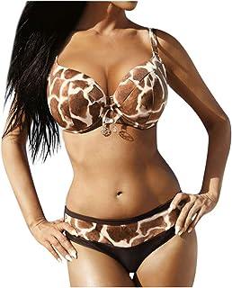 Women Bandage Sexy Bikini Set Push up, Ladies Plus Size Leopard Printed Two Piece Swimsuit Tankini