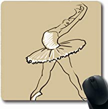 Ahawoso Mousepads Stage Actress Sketch Girls Ballerina Standing Pose Ballet Dancer Drawing Tutu Arms Performance Oblong Shape 7.9 x 9.5 Inches Non-Slip Gaming Mouse Pad Rubber Oblong Mat