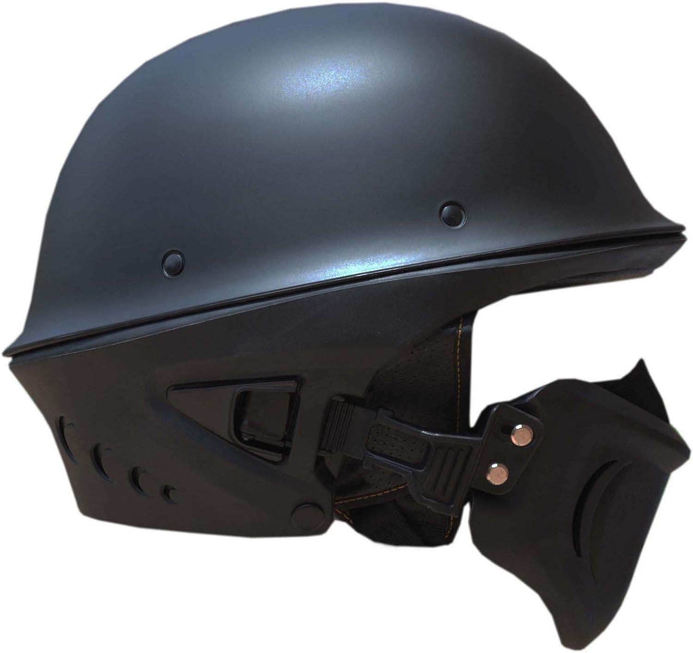 Chopper Open FACE Helmet MATT Black Harley Motorbike Motorcycle Cruiser German