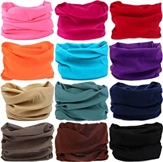 KALILY 12PCS/9PCS/6PCS Headband Bandana - Face Shield Headwrap Scarf Neck Gaiter Hair Band Medium Solid