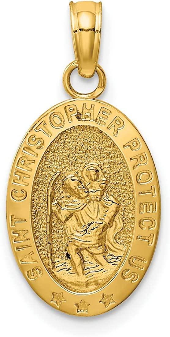 Solid Saint Christopher Protect Us Words on i Pendant Max 67% OFF Import Medal Oval