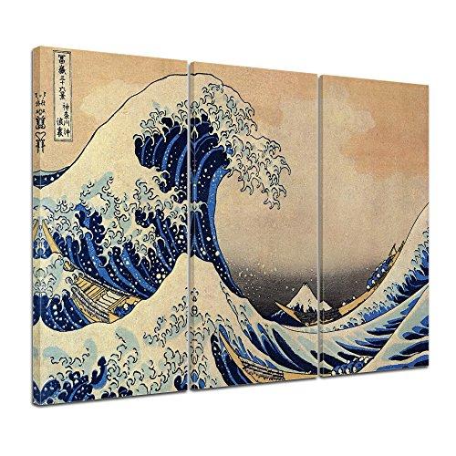 Bilderdepot24 murale Katsushika Hokusai - La Grande ondata di Kanagawa 120x80cm multipezzo - Tela Immagine Antichi Maestri Pittura Tela Fotografica Immagine su Tela
