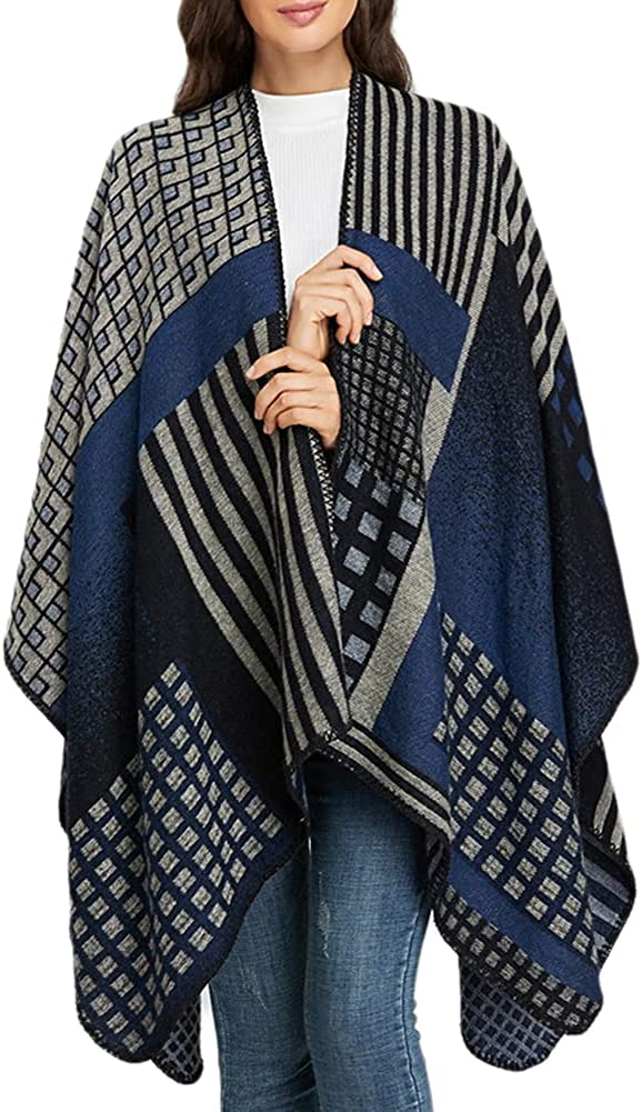Women's Shawls Wraps Winter Open Front Ruana Poncho Cape Oversized Blanket Cardigan Sweater