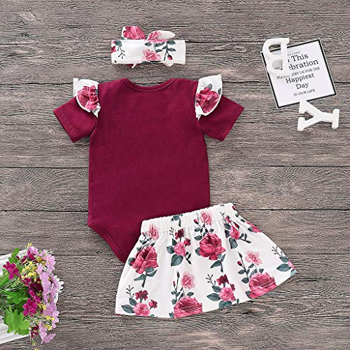 Fossen 2019 Ropa Bebe Niña Verano - Recien Nacido Bebé Monos con Volantes y Florales Falda Corta con Banda de Pelo (0-6 Meses, Rojo)