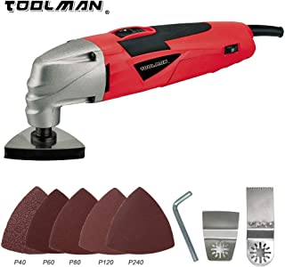 Toolman Multi-Purpose Oscillating Tool 11pcs 2.1A 5 Speed For Cutting Grinding works with DeWalt Makita Ryobi Accessories