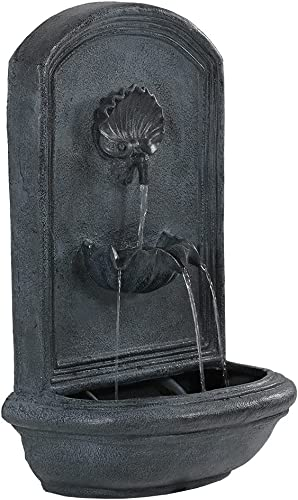 discount Sunnydaze Seaside outlet sale Outdoor Wall Water Fountain - Waterfall Wall Mounted Fountain & Backyard Water Feature with Electric Submersible Pump - Lead Finish new arrival - 27 Inch online