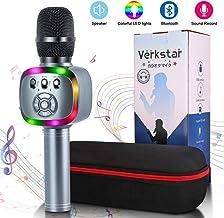 Verkstar Wireless Bluetooth Karaoke Microphone with LED Lights and Speaker, 2800mAh..