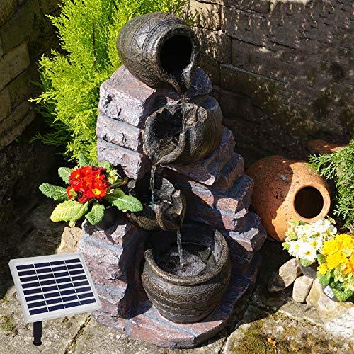 AMUR Gartenbrunnen Brunnen Zierbrunnen Zimmerbrunnen mit Beleuchtung Wasserfall Wasserspiel für Garten, Gartenteich, Terrasse, Teich, Balkon Sehr Dekorativ - Hybrid Solarbetrieb
