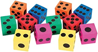 Kicko Big Foam Dice - Pack of 12-1.5 Inch Square, Assorted Colors - Playing Games - for Kids, Boys, and Girls - Party Favors, Bag Stuffers, Fun, Toy, Prize, Pinata Fillers