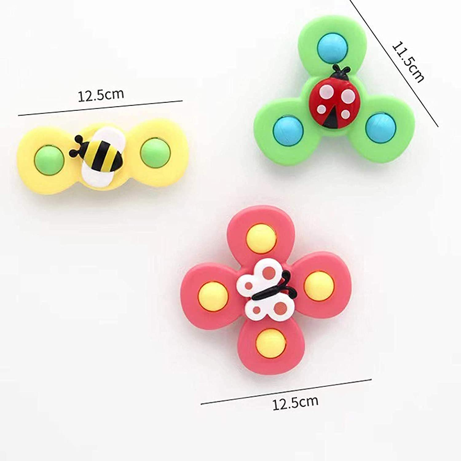 QIUXQIU Suction Cup Spinning Top Toy Windmill Spin Spinners Toys Funny Kids Mini Baby Toys Nice Newborn Gifts for Sensory Learning 3PCS New Animal Version Animal Version