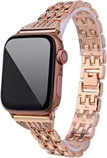 Sinma Bling Watch Band Metal Iwatch Strap Diamond Wristband Replacement for Apple Watch 4/3/2/1 38mm/40mm