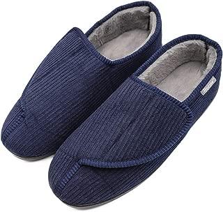 Hotme Men's Memory Foam Diabetic Slippers with Adjustable Closures,Extra Wide Width Comfy Warm Plush Fleece Arthritis Edema Swollen House Shoes Indoor/Outdoor