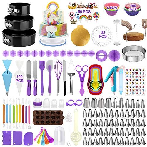Cake Decorating Supplies Kit 380pcs, Backwerkzeug Set für Kuchen - 3 Packs Springform Pfannen Torte Drehscheibe 48 nummerierte Piping Icing Tips 4 Russische Düsen 8 Fondant Werkzeuge Anfänger
