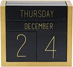 Juegoal Wooden Perpetual Calendar, Wooden Block Daily Calendar Office Desk Accessories (Black)