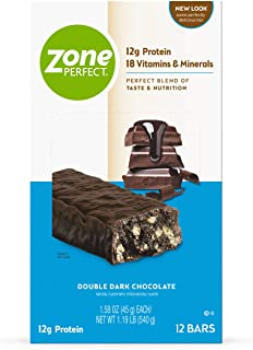 Best ZonePerfect Protein Bars, Double Dark Chocolate, 12g of Protein, Nutrition Bars With Vitamins & Minerals, Great Taste Guaranteed, 12 Bars Review