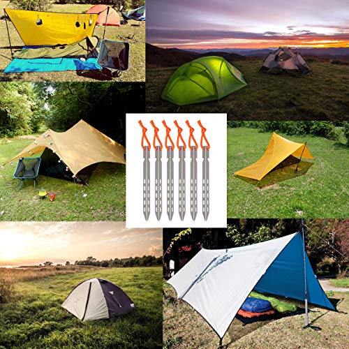 Hikemax Ultralight Titanium Tent Stakes 6 Pack - V-Shaped Tent Pegs with Reflective Pull Cords - Made for Camping