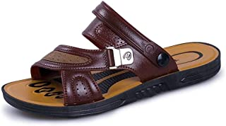 Comfortable Skid Resistance Outdoor Comfortable Sandals for Men Summer Beach Shoes Open Toe Walking Fisherman Slipper with Metal Buckle Anti-Slip Genuine Leather (Color : Brown, Size : 7 UK)