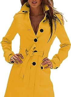 3c1291e7d78 Sexyshine Women s Autumn Winter Slim Fit Long Single Breasted Outwear  Belted Windbreaker Coat