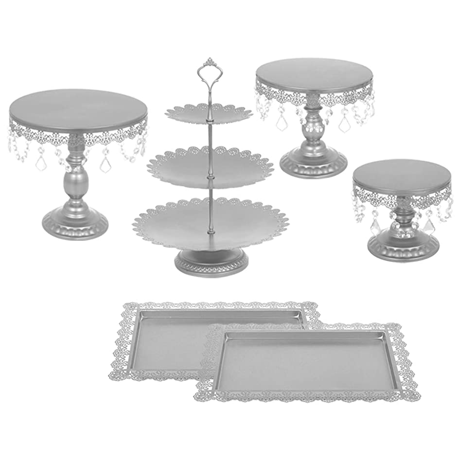 Happybuy 6 PCS Antique Metal Cake Stand Set with Crystal Pendants and Beads 3-Layer Tower Cake Plate Rectangle Cake Pans Round Dessert Holder Cupcake Stands for Party Wedding Birthday (6PCS, Silver)