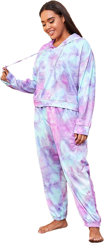 Floerns Women's Plus Size Tie Dye Drawstring Hoodie Long Sleeve Lounge Pajama Set