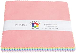 Connecting Threads Color Wheel Premium Precut Fabric Bundle Charm Squares (Pastel Rainbow)